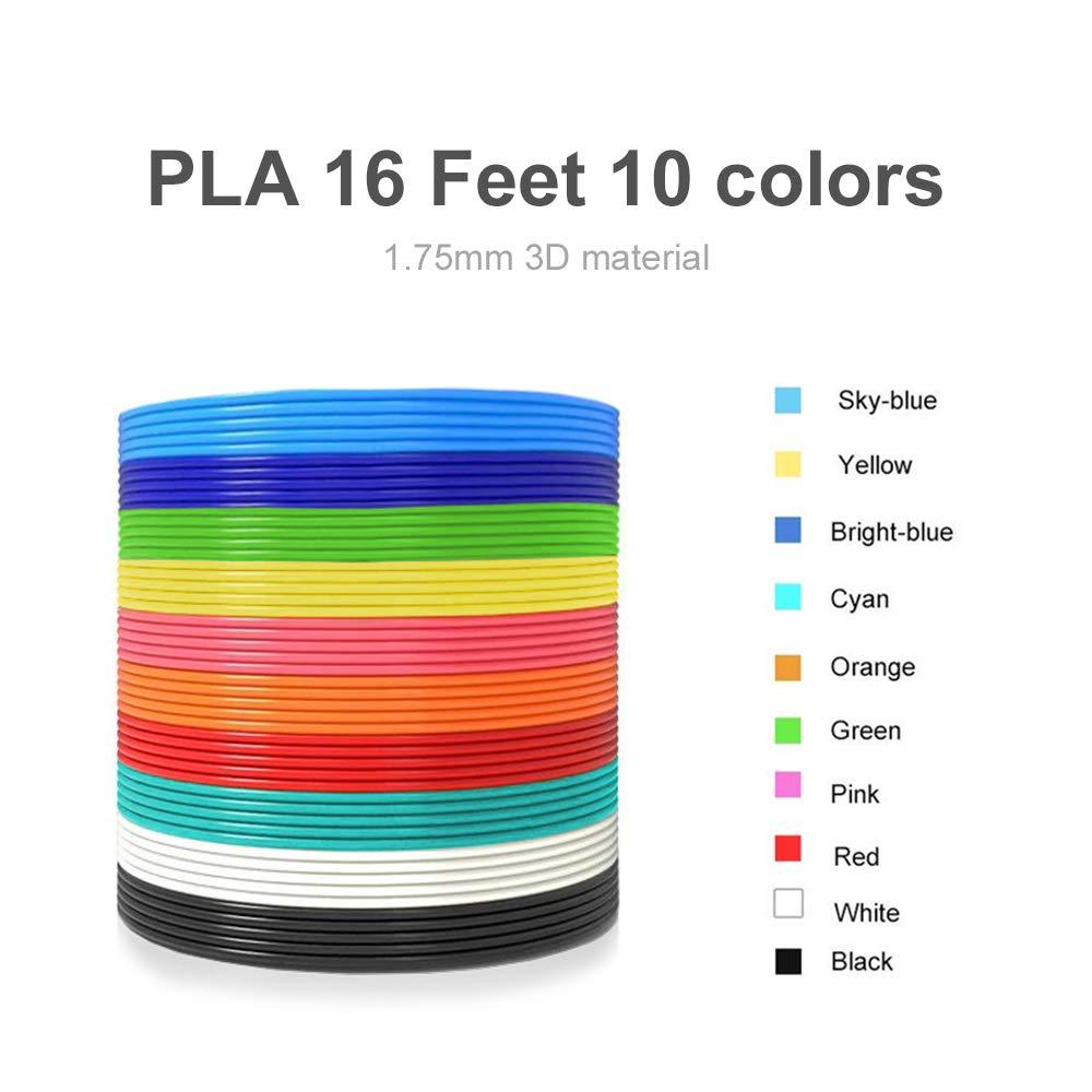 Non-Clogging 3D Pen PLA Filament Refills 3D Drawing Printing Printer Pen Bonus 10 Colors 5M//16 Feet Each Color,Total 164 Feet,1.75mm PLA Filament for Kids Adults Arts Crafts Model DIY