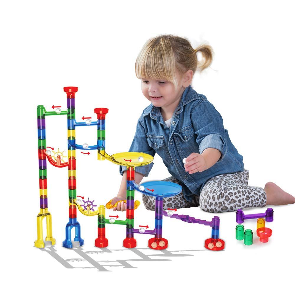 Innoo Tech Kugelbahn, 80tlg Murmelbahn, Marble Run, Konstruktionsspielzeug, pädagogisches Lernspielzeug, DIY Bausteine, Tolles Geschenk für Kinder ab 3 Jahr G2132