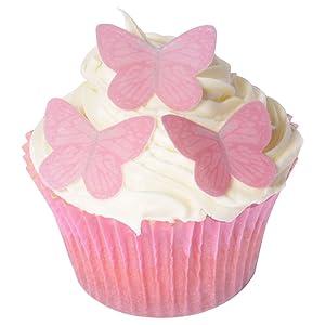 42 Gorgeous Mini Edible Butterflies: Bright Pink