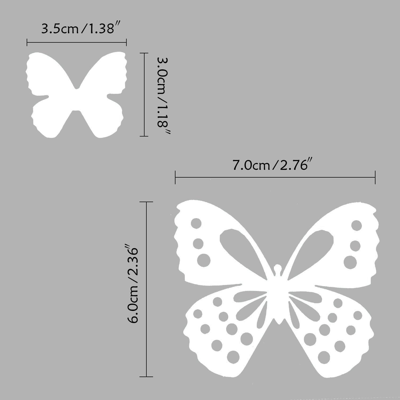 Blanc 3D Papillons Sticker Mural Autocollants R/éfrig/érateur Aimant D/écor Artisanale Bricolage pour Chambre de B/éb/é Salon TV Salle de S/éjour avec adh/ésif Double-Face Luxbon 100x