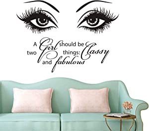 Beauty Eyes Salon Wall Sticker Eyelash Quotes A Girl Should be Two Things Classy and Fabulous Decor Wall Mural NY-380 (57X40CM)