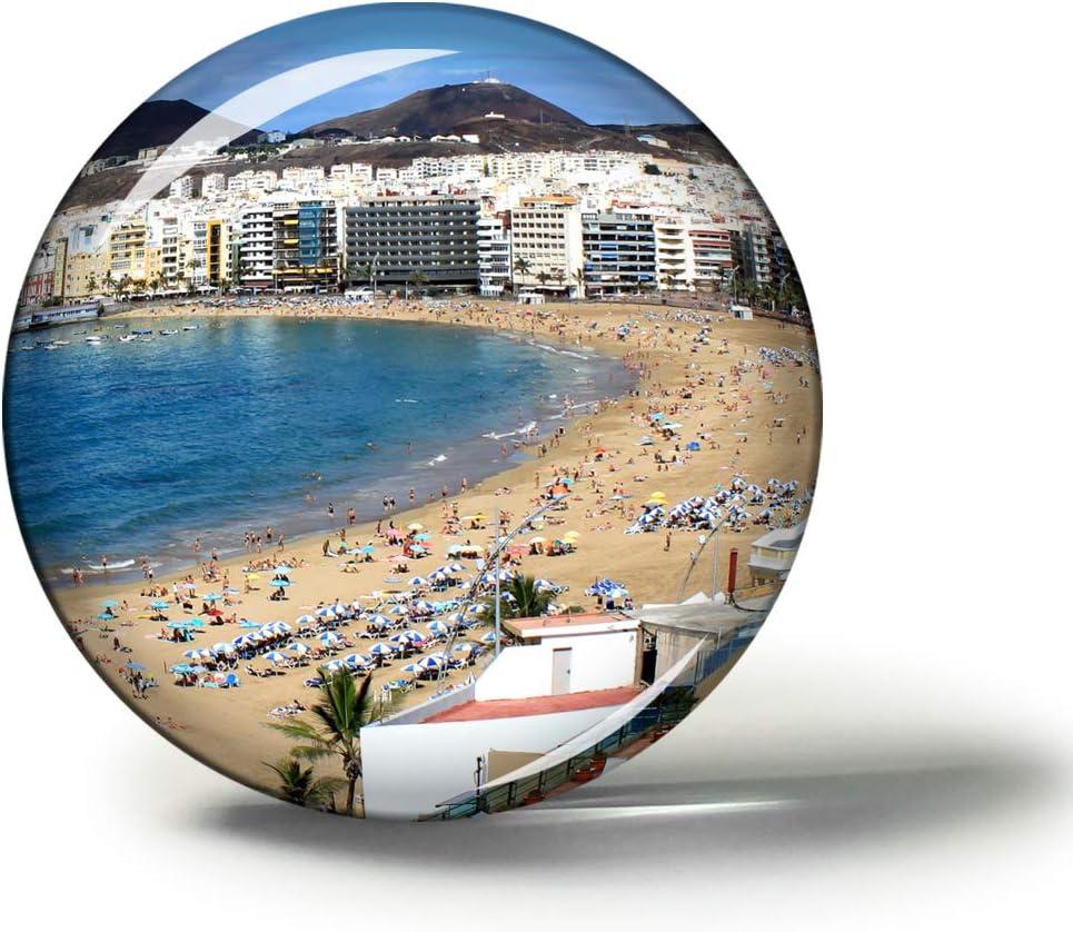 Hqiyaols Souvenir España Playa De Las Canteras Las Palmas Imanes Nevera Refrigerador Imán Recuerdo Coleccionables Viaje Regalo Circulo Cristal 1.9 Inches: Amazon.es: Hogar