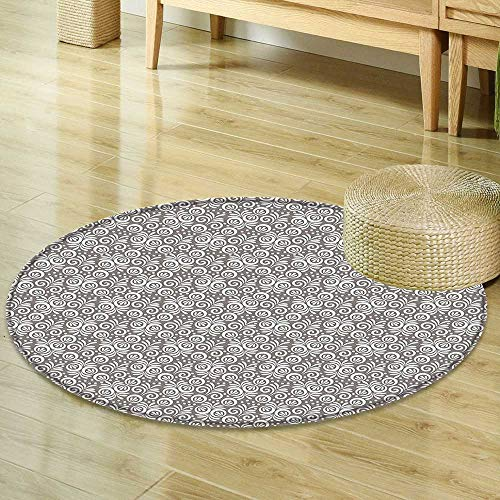 (Mikihome Round Area Rug Carpet Floral Classical Victorian Style Flowers Background in Scroll Shaped Curved Lines Art Print Grey White Living Dining Room Bedroom Hallway Office Carpet R-47)