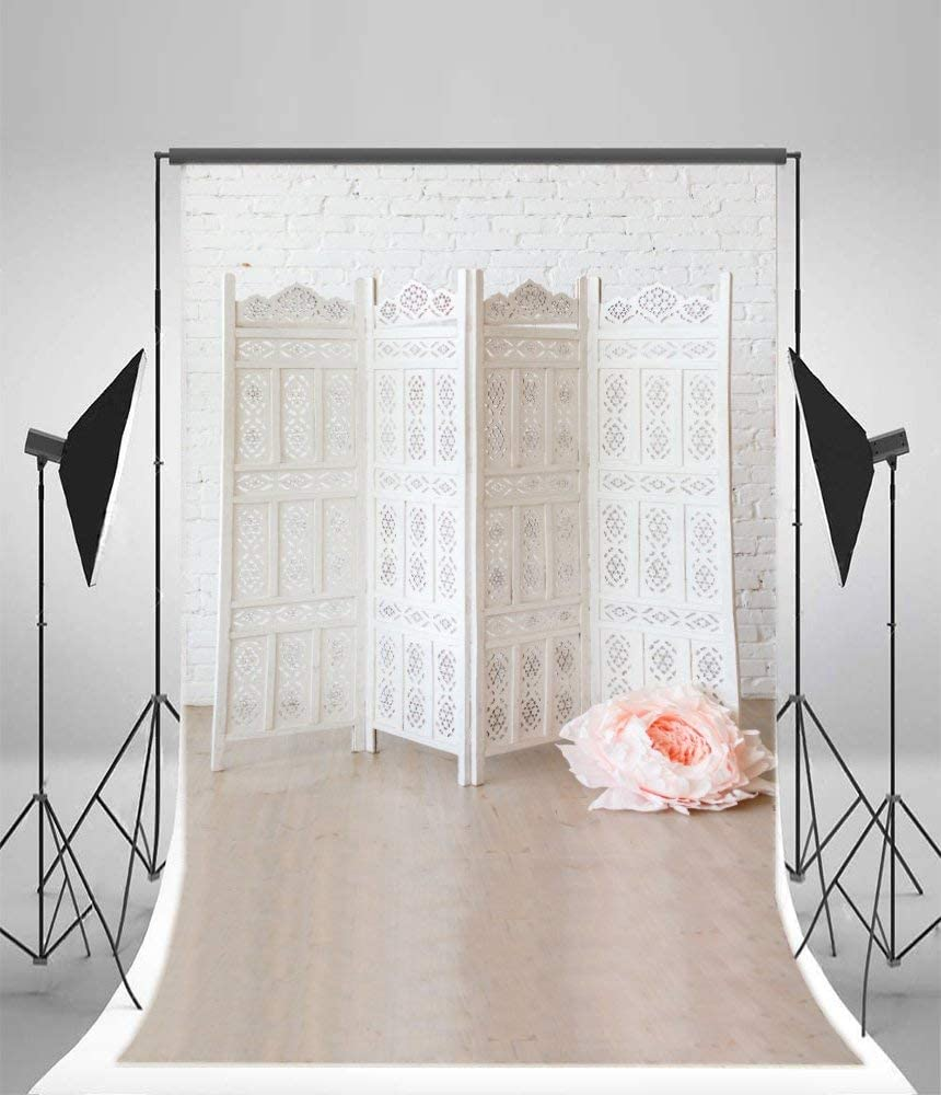 Polyester 6x8FT Photography Background Blossom White Flowers Background Rose Texture Artifical Jasmine Tone Color TV Wall Studio Props Valentine Moters Day Lovers Girls Portraits