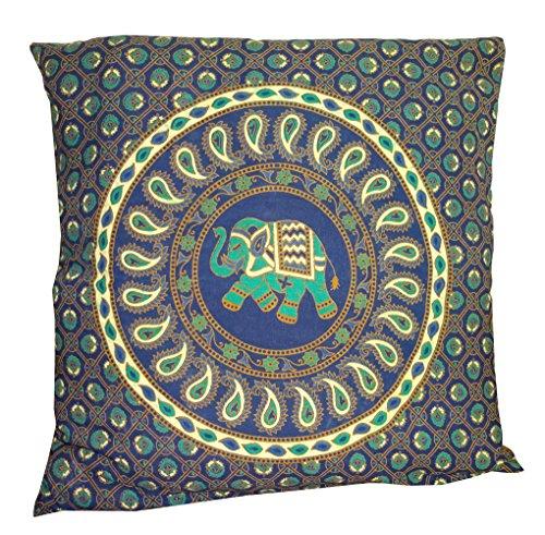 Deco Art Elephant (Indian Blue Paisley Elephant Mandala Throw Ethnic Tribal Vintage, Decorative Pillow Cushion Cover, Inspired Motifs Flourishing Nature Ornate Curves and Swirls, Square Accent Pillow Case 18 X 18