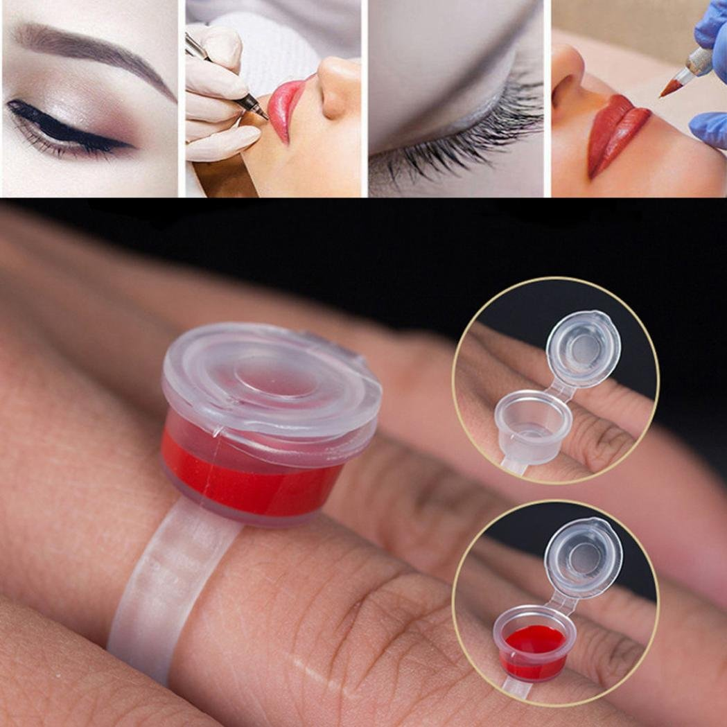 Tattoo Ring,Chartsea Tattoo Permanent Eyelash Makeup Ink Cup Cap Finger Ring Holder (100Pcs)