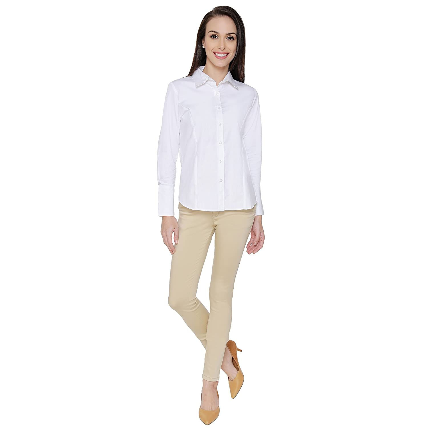 4b099a0f2c4203 The Cotton Company Women's Formal Shirt - White  (Shirts011_F_Valentina_White_M): Amazon.in: Clothing & Accessories