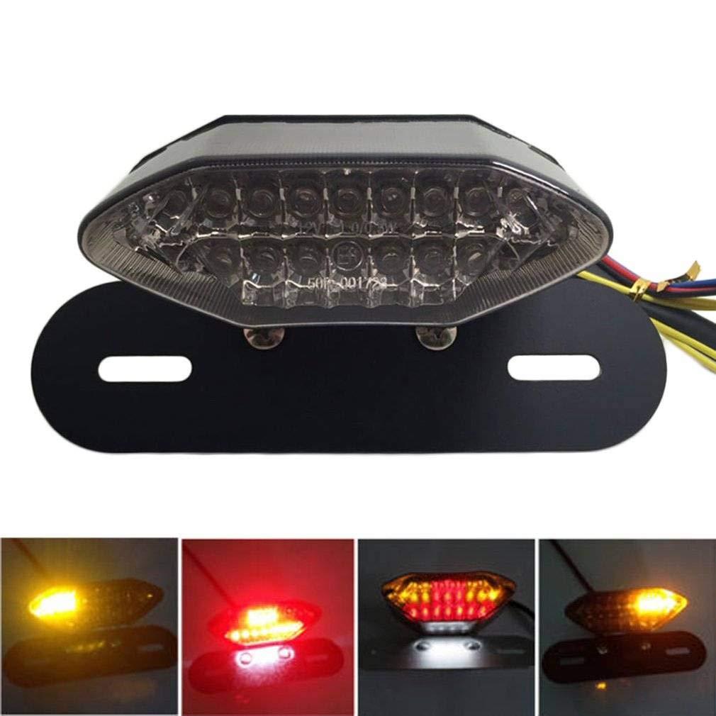 Luci LED per moto, quad, ATV, coda, freccia, freno, targa, luce integrata, portatarga con luci posteriori, luci di stop, illuminazione targa e freccia, 20 LED in tre colori Qyoung