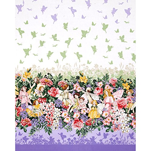 Michael Miller Flower Fairies Dreamland Dream Single Border Glitter Metallic Fabric by The Yard, ()