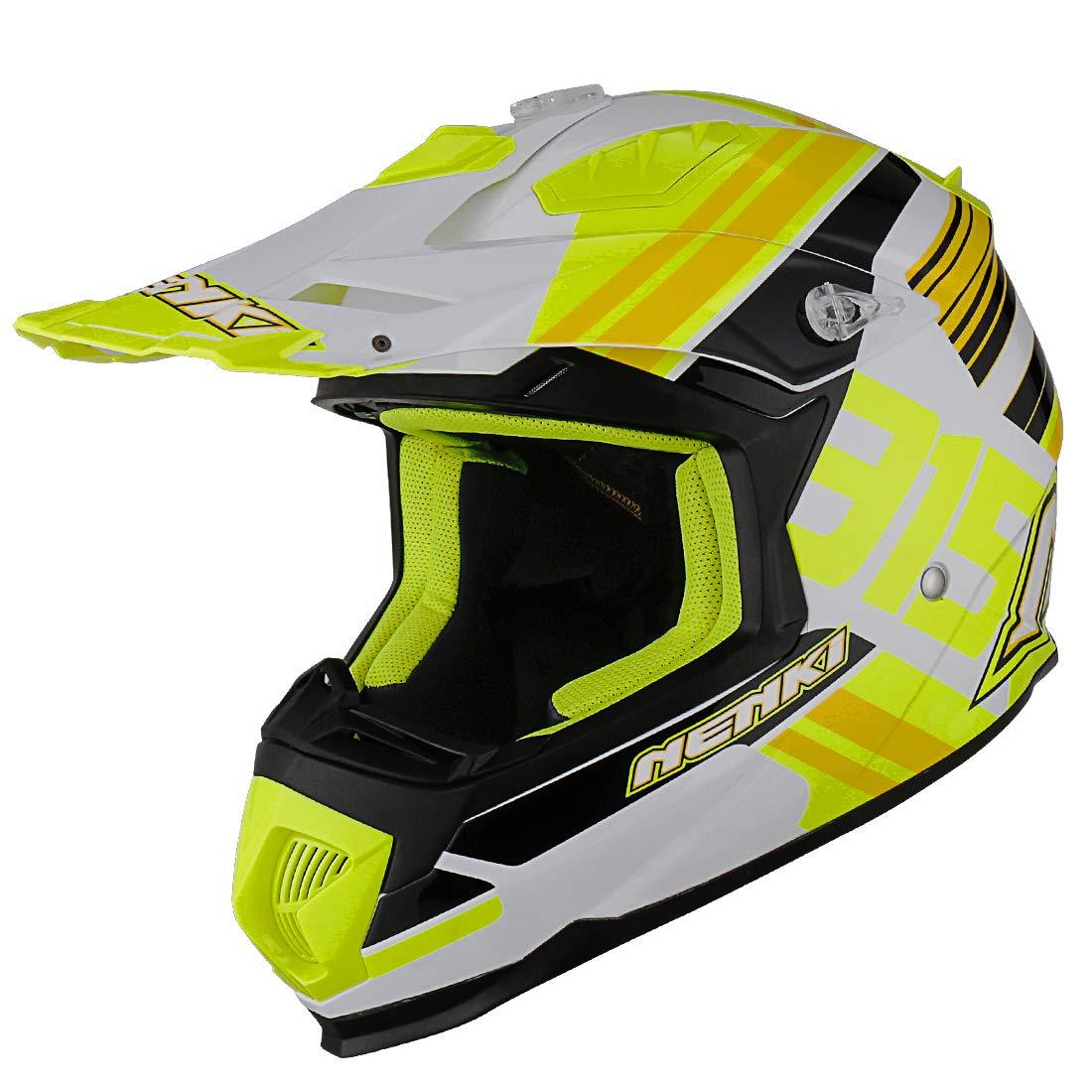 Noir Mat, S NENKI Casque Moto Cross NK-316 pour Hommes et Femmes ECE Approuv/és