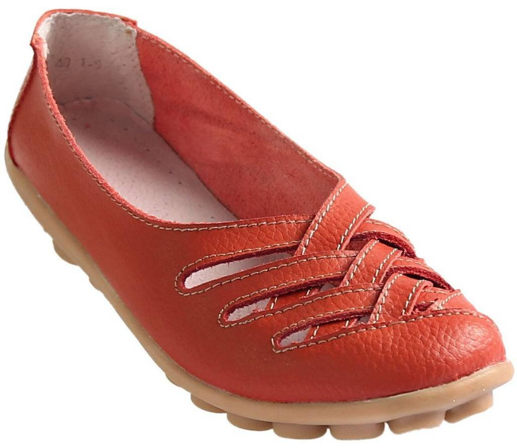 Fangsto Women's Cowhide Leather Loafers Flats Sandals Slip-On US Size 7.5 Red