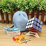 master skewb - GoodPlay Newest Gans 356 Air Master 3x3 Speed Cube Gan356 Air 3D Magic Cube Puzzles Sticker Intelligence Smooth Brain Teaser Toys, Black + One Customized Tripod and Bag