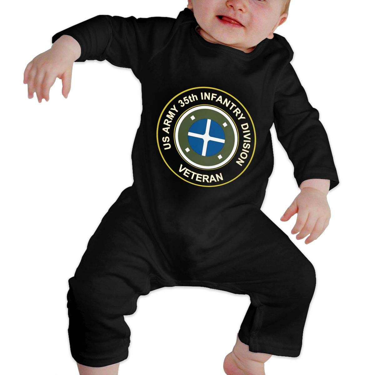 US Army 35th Infantry Division Veteran Newborn Baby Long Sleeve Bodysuits Rompers Outfits