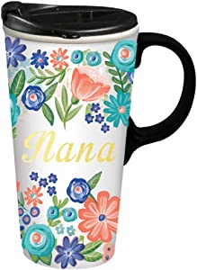 Nana Ceramic Travel Cup - 4 x 5 x 7 Inches Gift For Mothers Day Moms Day Gift Floral Travel Mug for Mom Grandmother Gift Cup