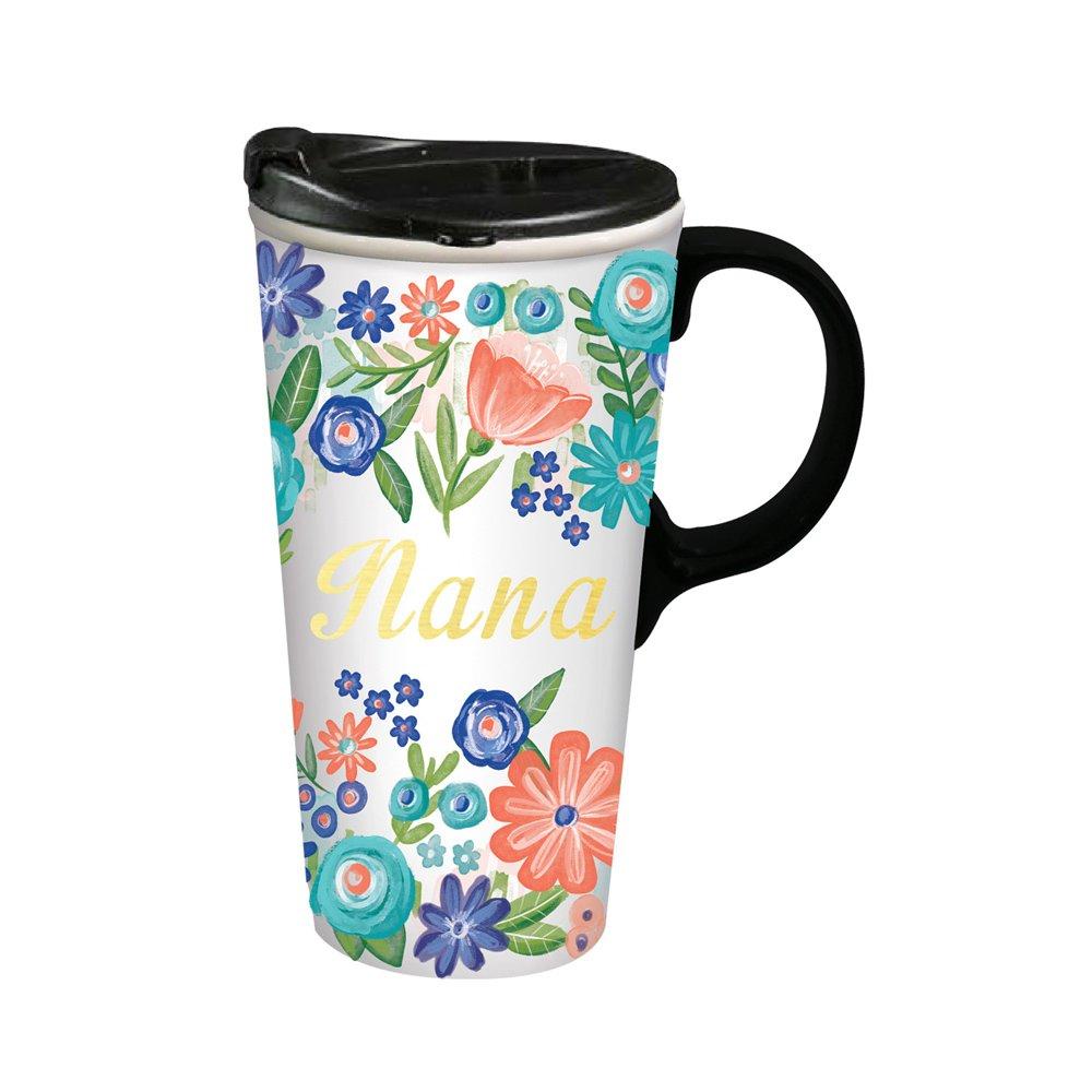 Cypress Home Nana Ceramic Travel Coffee Mug, 17 ounces
