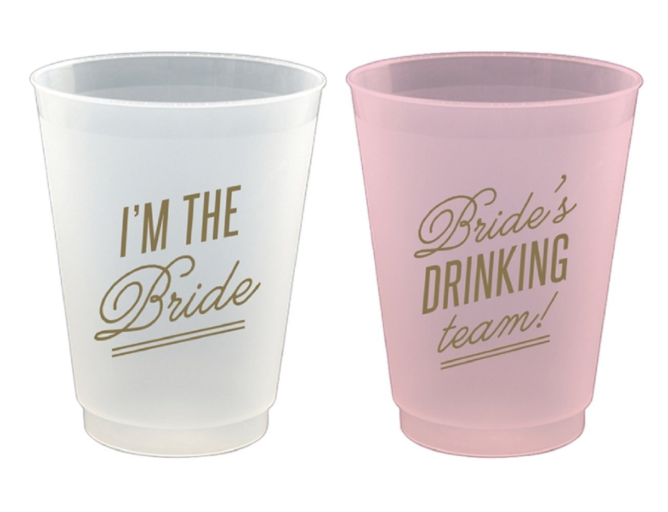 Reusable Frost Flex Cups I'm The Bride & Bride's Drinking Team - 8 Piece Set, 16oz by Slant