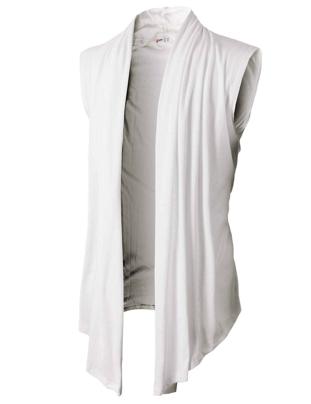 H2H Men's Shawl Collar Sleeveless Cardigan With No Button WHITE US L/Asia XL (KMOCASL01) by H2H