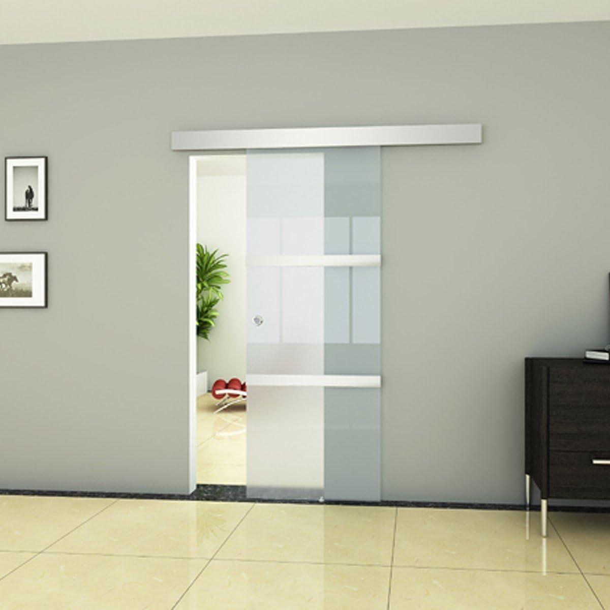 Puerta deslizante moderna para interior, con 3 partes de cristal ...