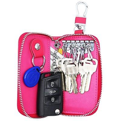 Watruer Car Key Case Genuine Leather Universal Vehicle Wallet Smart Remote Fob Case Holder Keychain Ring Case Bag - Pink: Kitchen & Dining