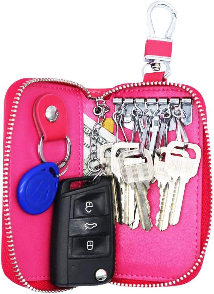 Light Blue Watruer Car Key Case Genuine Leather Universal Vehicle Wallet Smart Remote Fob Case Holder Keychain Ring Case Bag