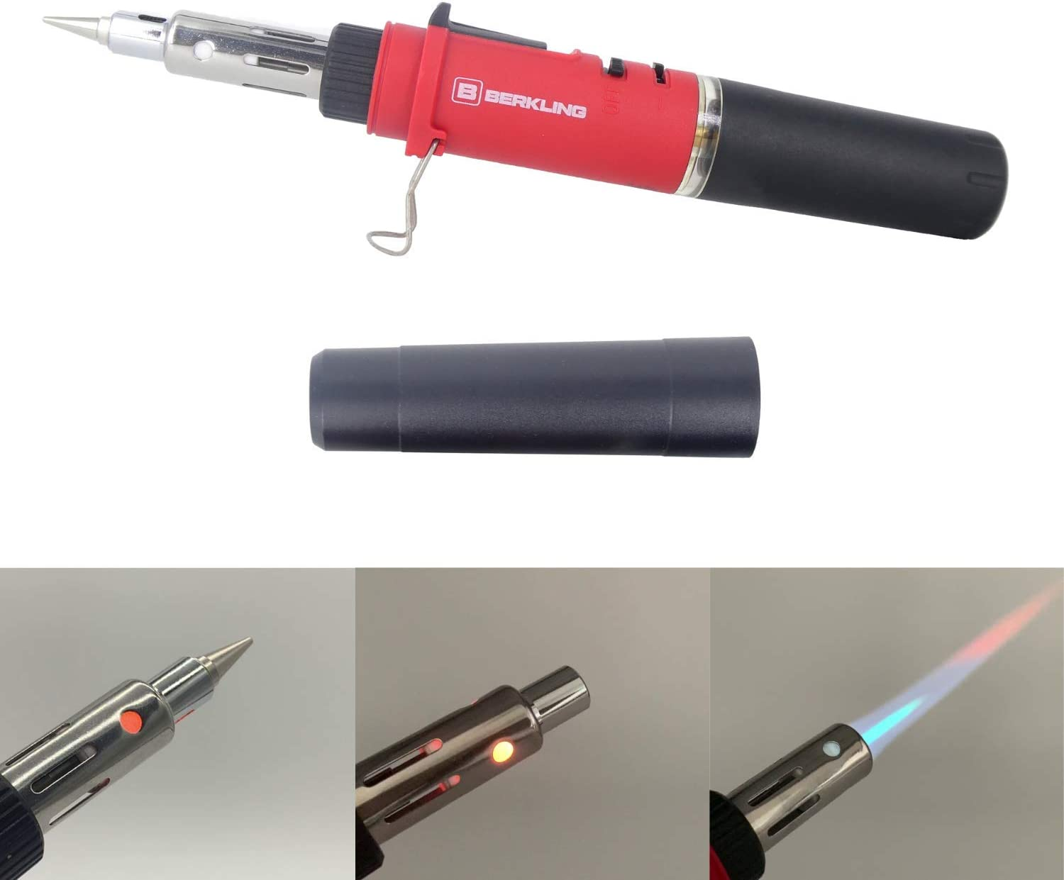 Berkling BSG-568 3-IN-1 Cordless Butane Soldering Iron | Heat Gun | Mini Torch - Self-Ignite, Rechargeable, Light Weight, Portable, Adjustable Flame For Automotive, Electronics, Home DIY, Computer