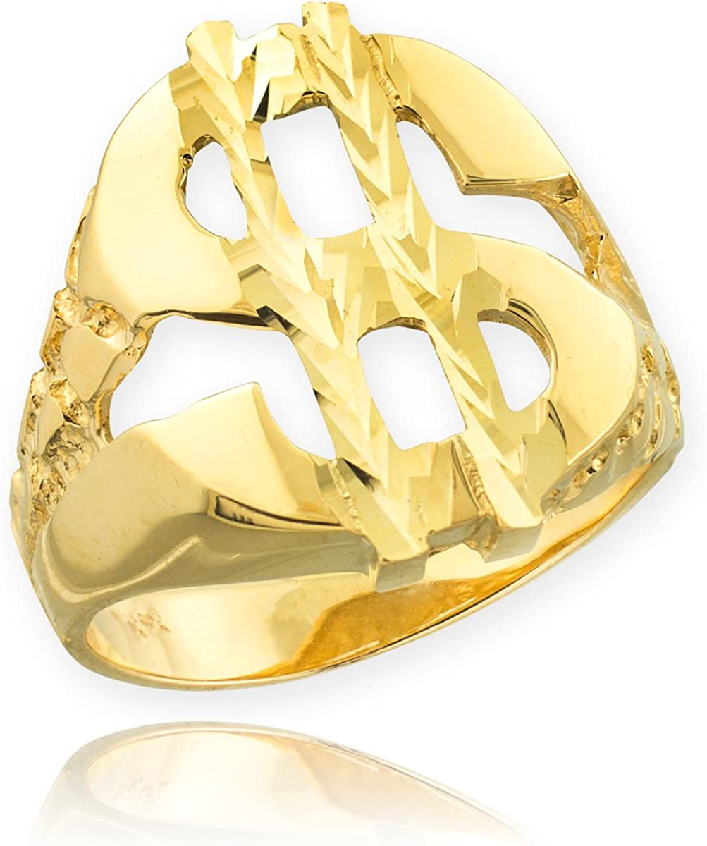 Mens 10k Yellow Gold Lucky Nugget Band Dollar Sign Ring Size 15.75
