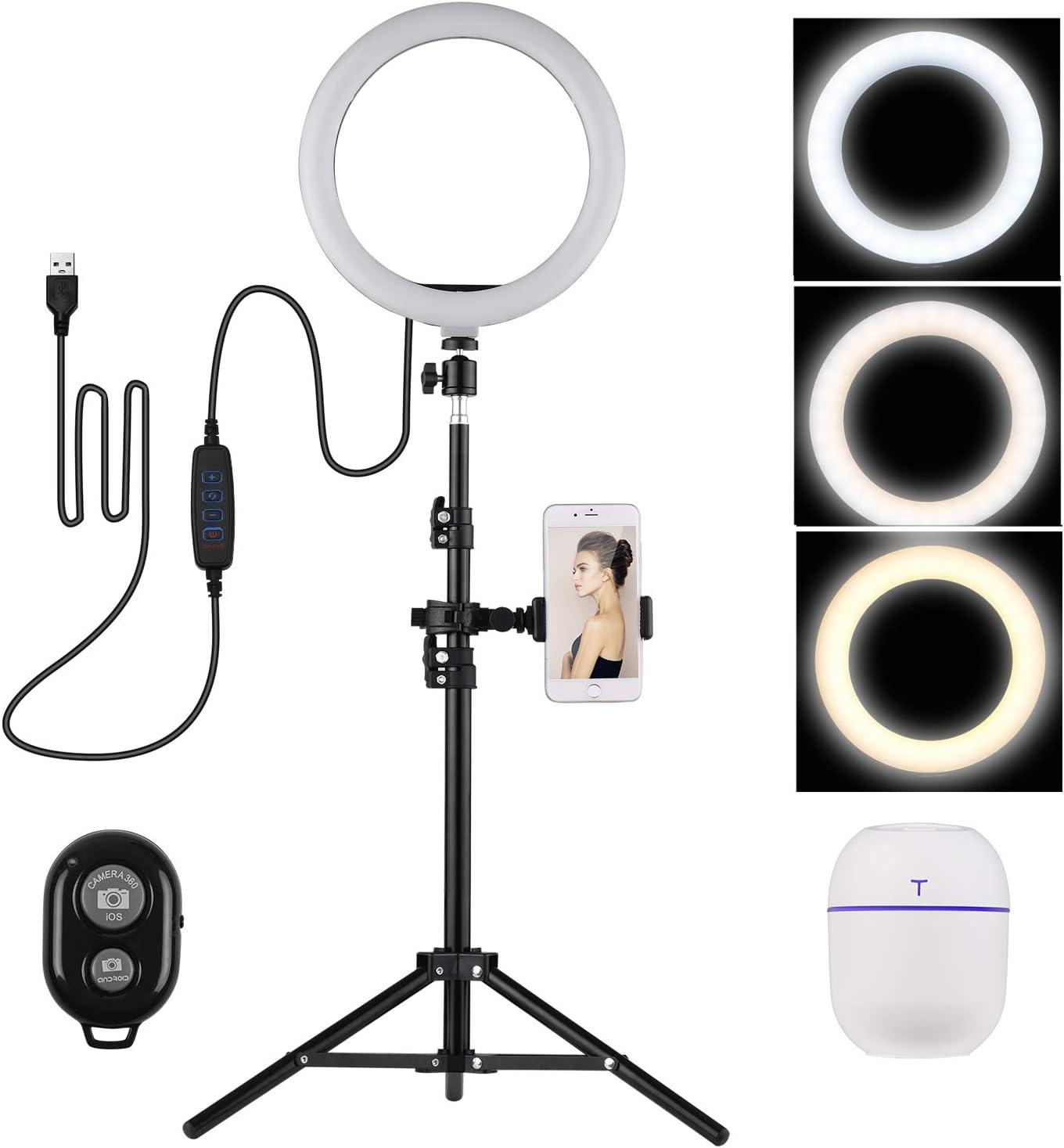 Andoer LED Ring Light 10 Pulgadas, 3200-5600K Selfie Video Ring Light con Soporte para Teléfono Ballhead Light Stand Mini Humidificador para Youtube Video en Vivo Grabación Emisión Selfie Maquillaje
