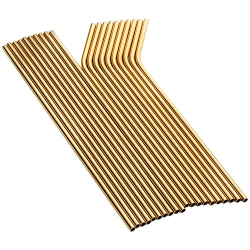 Buyer Star 20 Pieces Metal Straw, Gold Extra Long Drinking Stainless Steel Reusable Smoothie Straws for Yeti Tumbler Rambler Mugs (gold)