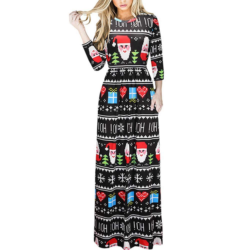 TALLA (EU48-50)XXL. Lover-Beauty Vestido Largo Floral Print Casual para Noche Fiesta Playa Fiesta Manga Larga Cuello Redondo Vestido Verano Cuello V Multicolor 7 (EU48-50)XXL