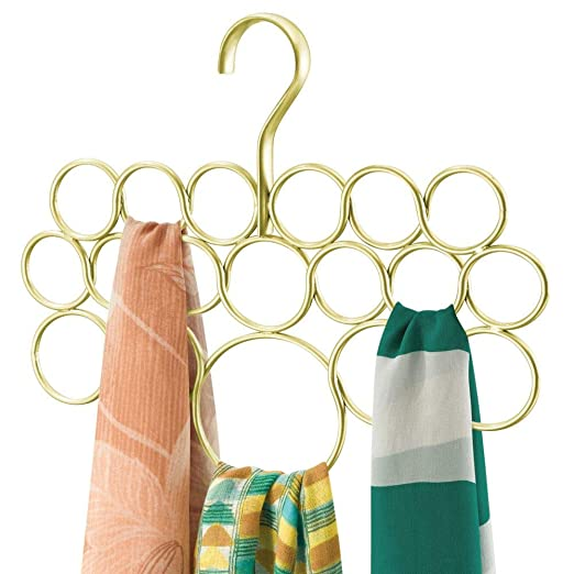 mDesign Percha para pañuelos - Organizador de pañuelos, chales, bufandas y más - Organizador de armarios para accesorios con 18 prácticos aros - ...