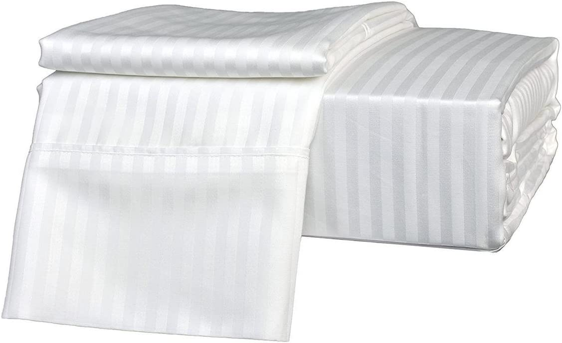CLASSIC HOME COLLECTION King Size Sheets Luxury Soft Heavy Egyptian Cotton - Sheet Set for King Size (76x80) Mattress White Stripe 1200 Thread Count Deep Pocket Fits 13-14 Inches !!