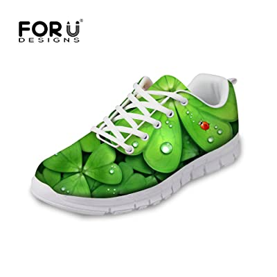 FOR U DESIGNS Green Clover Print Breathable Running Shoe Women Outdoor Sneakers US 11
