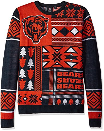 Chicago Bears Patches Ugly Crew Neck Sweater Extra Large