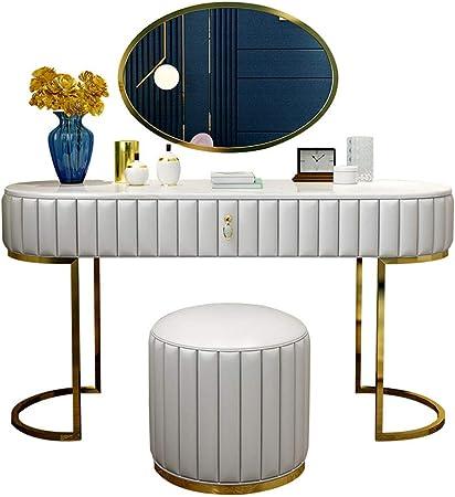ZHANGLE Tocador, Tocador Moderno Europeo Muebles de Dormitorio Estuche Blando Tocador de mármol con Espejo y Taburete de Maquillaje: Amazon.es: Hogar