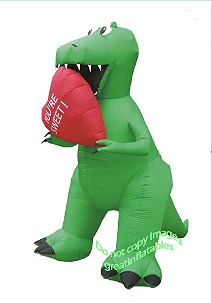 ac932e6b6412c Valentines Day Inflatable T Rex With Heart Holiday Airblown Decoration