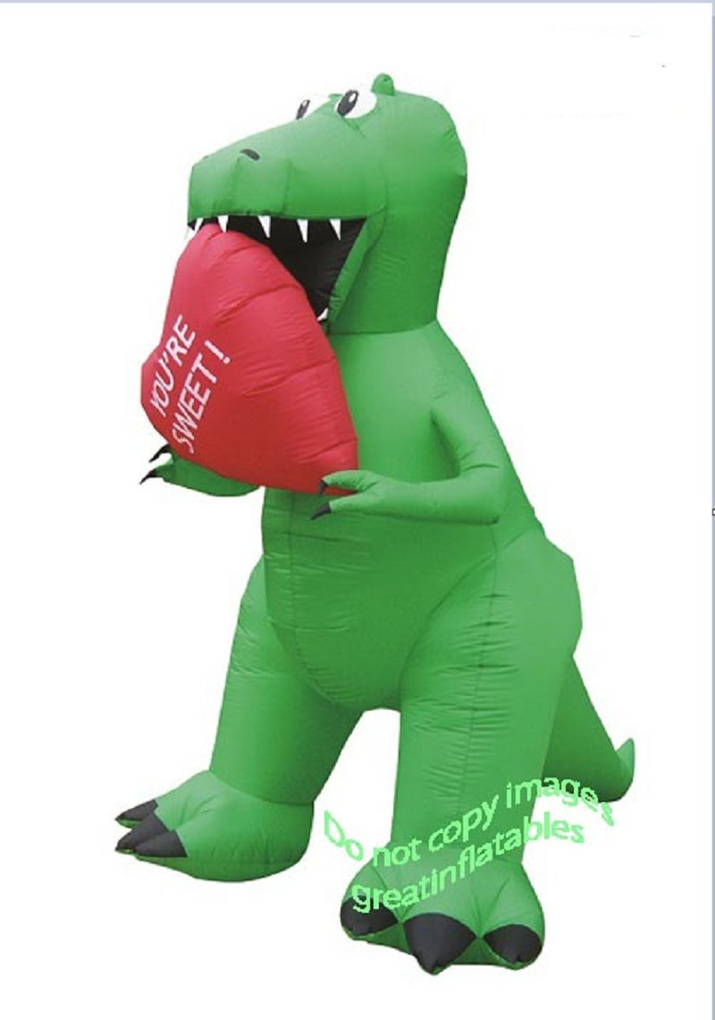 Valentines Day Inflatable T Rex With Heart Holiday Airblown Decoration by IG