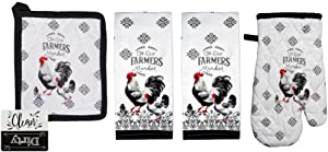 Rooster Kitchen Towels Set with Oven Mitt and Pot Holder Set Farmhouse Kitchen Set (Farmers Market)