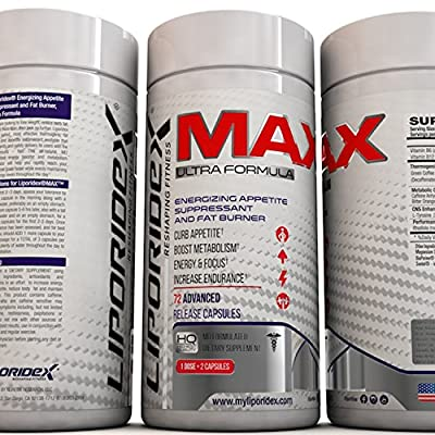 Liporidex MAX2 Weight Loss Supplement - Ultra Formula Thermogenic Fat Burner Metabolism Booster & Appetite Suppressant - The easy way to lose weight fast and increase energy - 72 diet pills