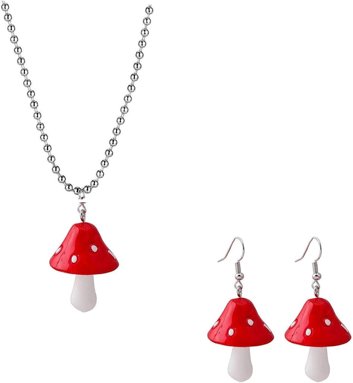 Handmade Colorful Mushroom Shape Dangle Earrings Sweet Fresh Chic Charm Mushroom Pendant Drop Earrings for Women Girls Funny Simulation Mushroom Food Earrings Jewelry