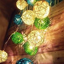 Battery Operated 7.2ft 20 LED Fairy Lights /5cm White &Blue & Green Rattan Ball Christmas String Lights--- Ideal for Wedding, Christmas & Party String Lights by Goodia