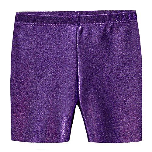 City Threads Girls Underwear Novelty Bike Shorts for Play School Uniform Dance Class and Under Dresses, Sparkly Purple, 4T