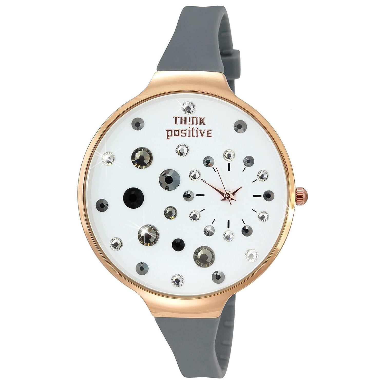 THINK positive Damen-Uhr Stardust Analog Fashion Silikon-Armband grau Quarz-Uhr UTP1149K