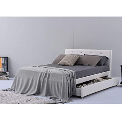 1f2139cc6602 PALDIN Storage bed frame, Modern Faux Leather 4F6 bed With A Giant Drawer  double bed frame with Headboard For Bedroom White: Amazon.co.uk: Kitchen &  Home