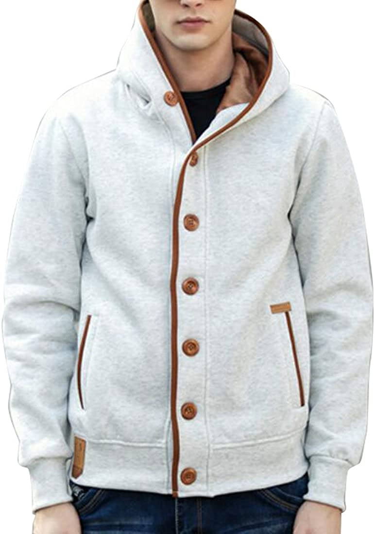 SHOWNO Mens Thick Button Front Hoodie Jacket Lightweight Outerwear