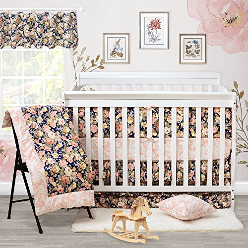 Brandream Crib Bedding Set with Bumper Baby Bedding Crib Sets Girl Rose Floral Nursery Bedding Set,100% Cotton Soft, Navy and Pink, Shabby and Vintage Style, 9 Pieces