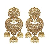 MUCH-MORE Indian Great Style Gold Plated Party Wear Polki/Jhumka Earring Jewelry for Women (7332)