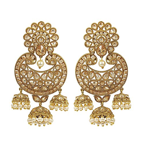 MUCH-MORE Indian Great Style Gold Plated Party Wear Polki/Jhumka Earring Jewelry for Women (7332) (Jhumka Earrings)