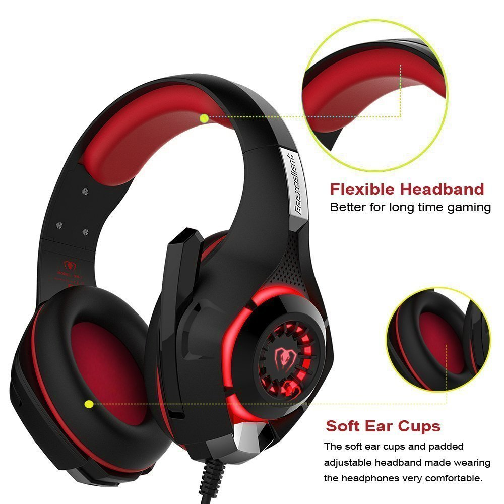 New Xbox One Headset MFEEL Gaming Headset with Mic for PC, PS4, Xbox One S Netendo DS Tablet Laptop Phone - Noise lsolating Volume Control LED Light (Red)
