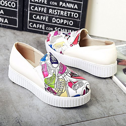 Sfnld Womens Trendy Contraste Couleur Plate-forme Bout Rond Slip Sur Mocassins Sneakers Violet