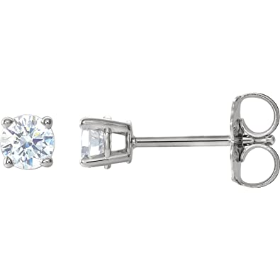 e1090bf18 14k White Gold 4-Prong Diamond Basket Stud Earrings, Friction Back (1/